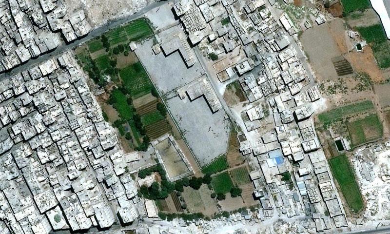 صورة جوية حديثة لمدينة حلب تظهر الدمار الهائل فيها (منظمة العفو الدولية)