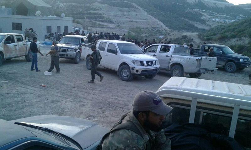 قبيل انطلاق مقاتلي الفصائل للمعركة ضد قوات الأسد في ريف اللاذقية- الاثنين 10 تشرين الأول (تويتر)