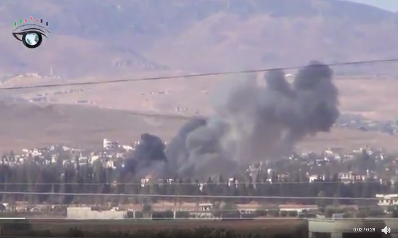 قصف بالبراميل المتفجرة على دير خبية- الخميس 13 تشرين الأول (فيس بوك)