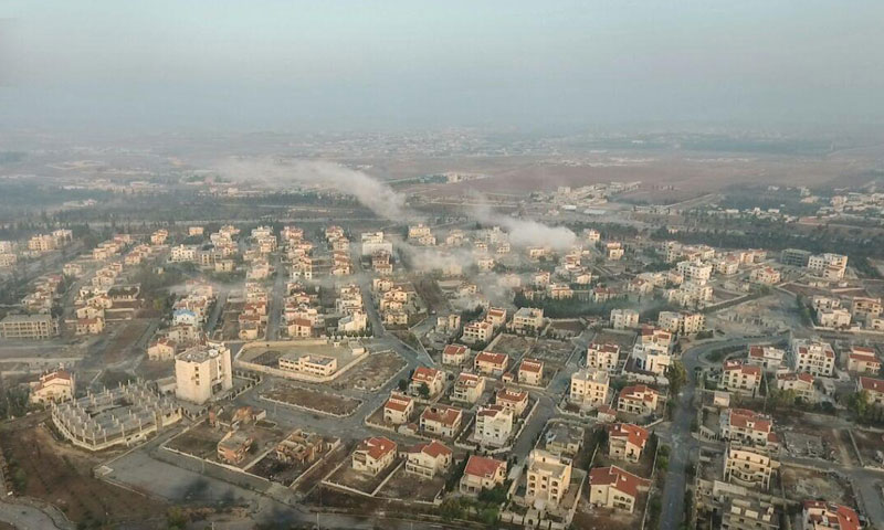 صورة جوية لضاحية الأسد التي سيطرت عليها فصائل المعارضة في حلب (أحرار الشام)