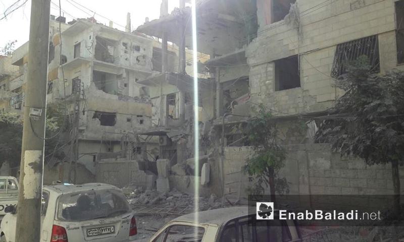 اثار القصف على مدينة دوما صباح اليوم (عنب بلدي)