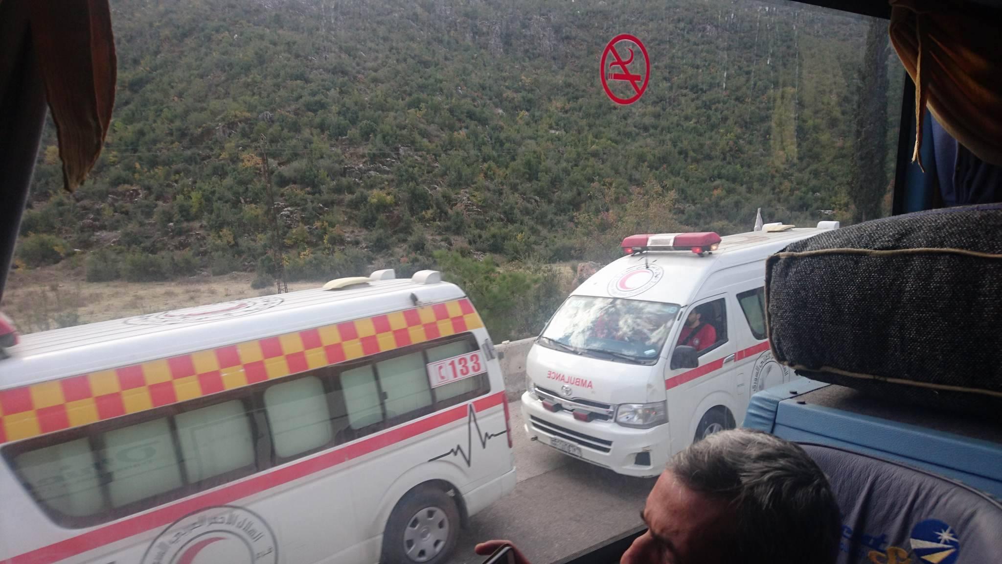 صورة من الحادث المروري على طريق قلعة المضيق - 29 تشرين الثاني (حسابات شخصية في فيس بوك)