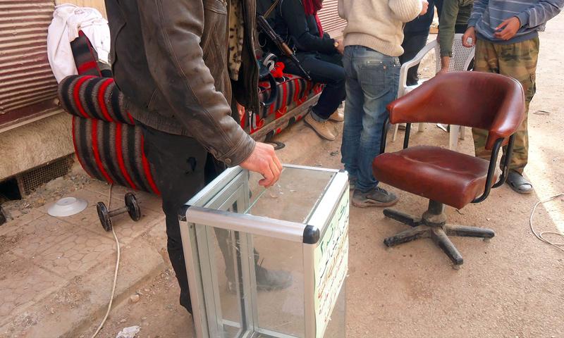 من انتخابات الدورة الرابعة لمجلس مدينة داريا - 13 تشرين الثاني 2013 (أرشيفية)