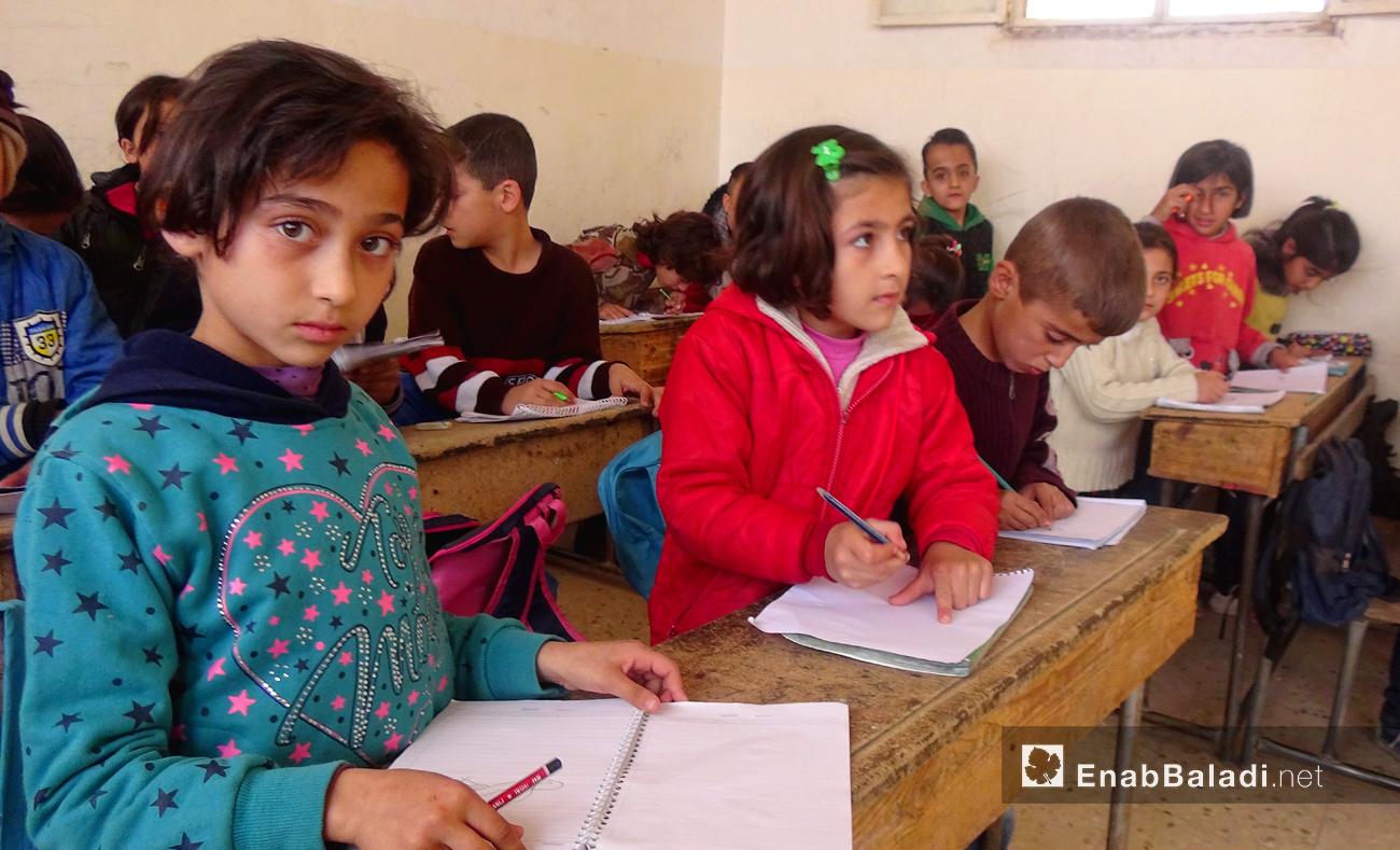 تلاميذ في مدرسة فرحان علي في القامشلي - تشرين الثاني 2016 (عنب بلدي)