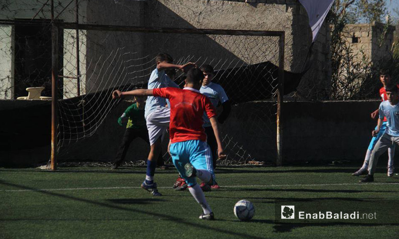 ناشئون في نشاط للهيئة العامة للشباب والرياضة في حلب - 15 آذار 2016 (عنب بلدي)