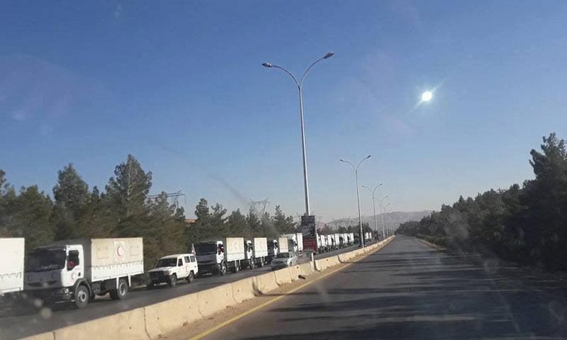 قوافل المساعدات في طريقها إلى مضايا بريف دمشق (دمشق الآن)