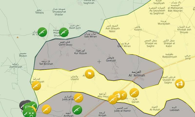مواقع القرى الست المحاصرة شمال حلب - 17 تشرين الثاني (موقع Livemap)