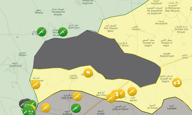 خريطة تظهر المساحة التي تمتد عليها القرى الست شمال حلب (موقع Livemap)