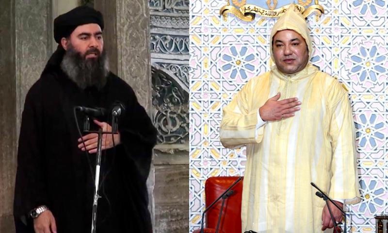 ملك المغرب محمد السادس (يمين)، وأبو بكر البغدادي.