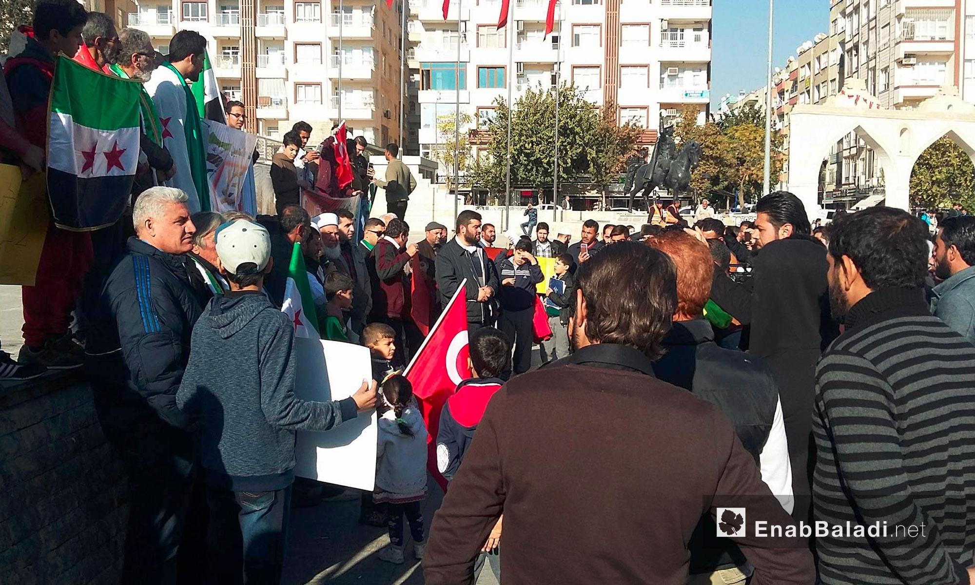 سوريون يتضامنون مع حلب من مدينة أورفة التركية - 25 تشرين الثاني 2016 (عنب بلدي)