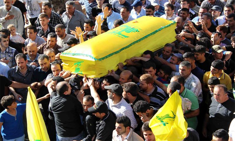 جنازة لأحد مقاتلي حزب الله قتل في حلب (إنترنت)