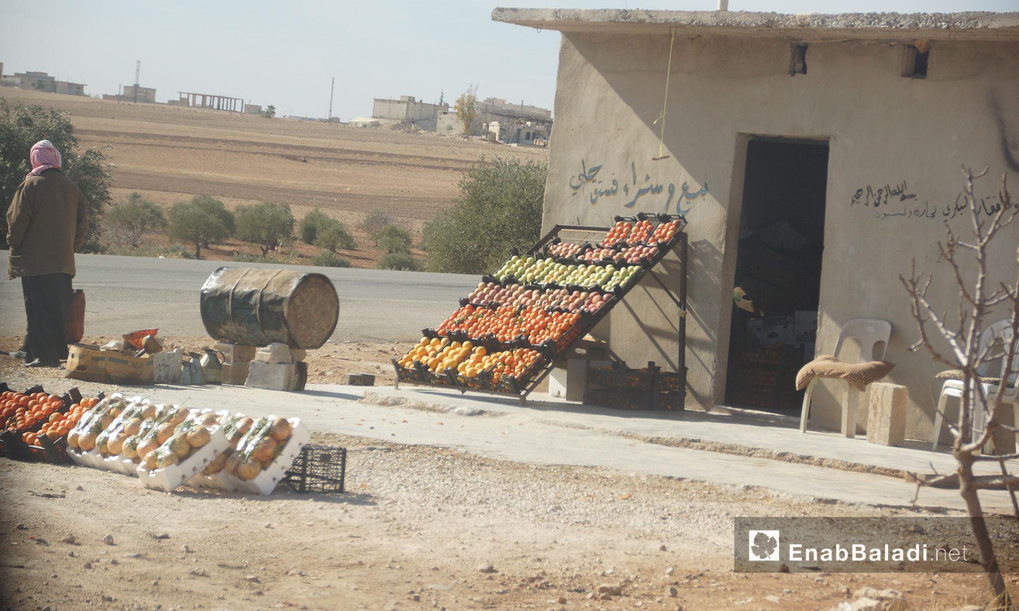 بائع فاكهة على طريق التمانعة ريف إدلب الجنوبي - 24 تشرين الثاني 2016 (عنب بلدي)