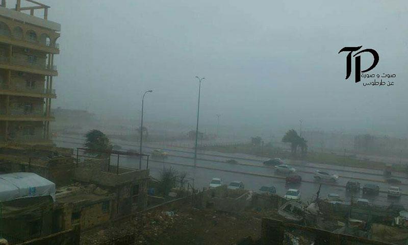 عاصفة مطرية في مدينة طرطوس- الأربعاء 30 تشرين الثاني (فيس بوك)