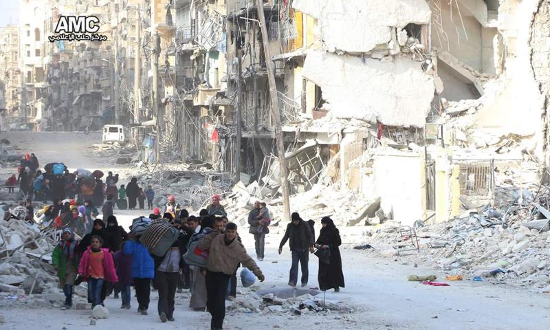 نزوح المدنيين من الأحياء الشرقية لمدينة حلب_29 تشرين الثاني_(مركز حلب الإعلامي)
