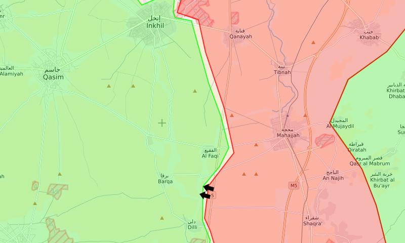 موقع تقدم قوات الأسد في ريف درعا الأوسط (syrialivemap)