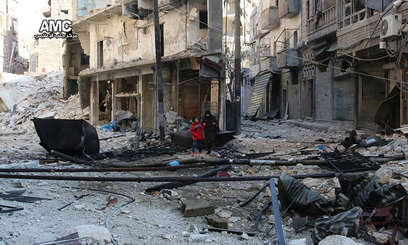 آثار الدمار جراء القصف الجوي على حي الشعار في حلب- الاثنين 21 تشرين الثاني (مركز حلب الإعلامي)