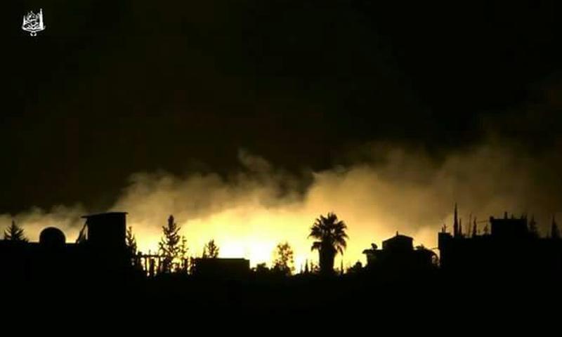 قصف ليلي يستهدف مخيم خان الشيح (فيس بوك)