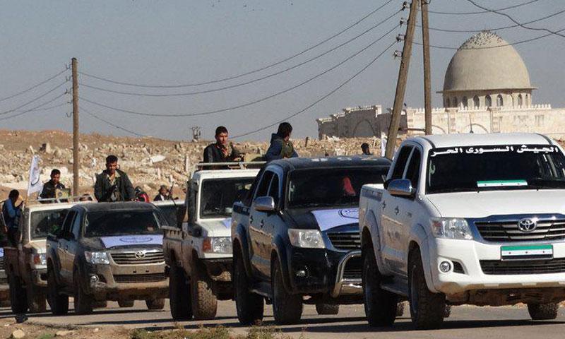 """شاحنات تابعة لـ """"الجيش الحر"""" في ريف حلب الشمالي (فرقة الحمزة)"""