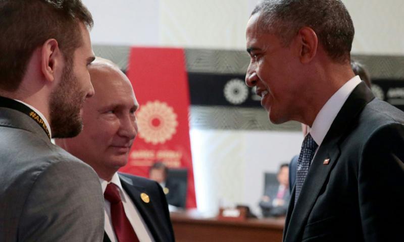 الرئيسان الأمريكي باراك أوباما والروسي فلاديمير بوتين_20 تشرين الثاني - (AFP)