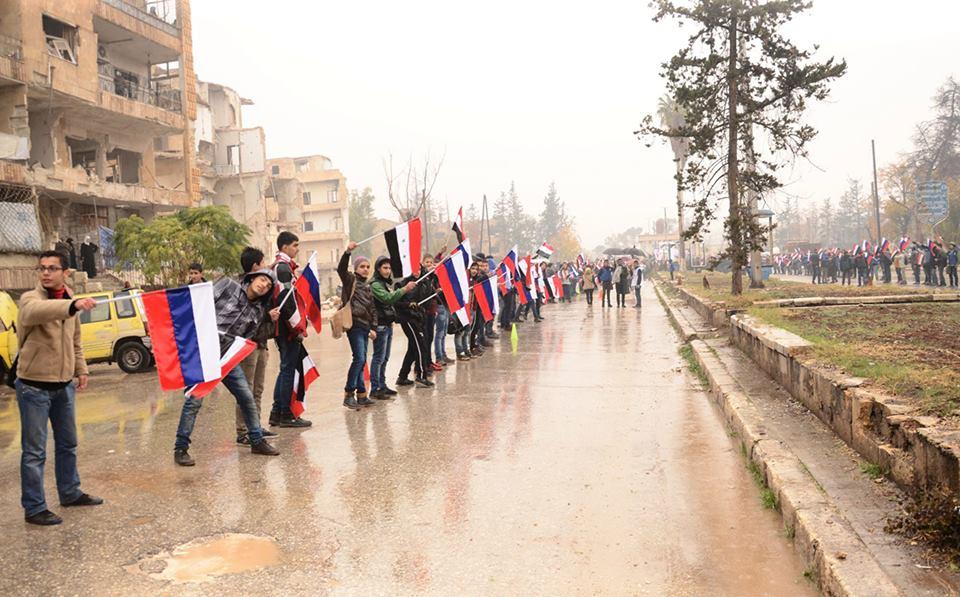 رياضيون يحتفلون بتقدم قوات الأسد في حلب- الخميس 1 كانون الأول (سانا)