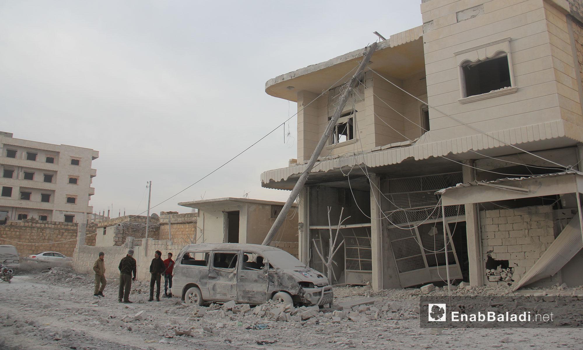 آثار قصف الطيران الروسي على بيوت المدنيين في بنش بإدلب - 5 كانون الأول 2016 (عنب بلدي)