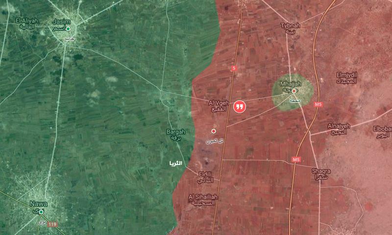 صورة تظهر نقاط السيطرة شمال درعا قرب الفقيع - 10 كانون الأول (عنب بلدي)