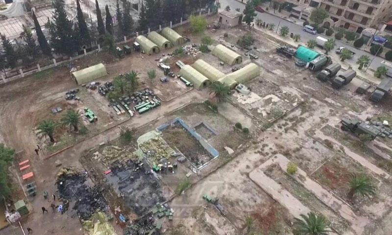 صورة جوية للمنطقة المستهدفة في حي الفرقان بمدينة حلب- الاثنين 5 كانون الأول (ناشطون)