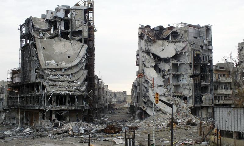 أرشيفية_الدمار في مدينة حمص_(انترنت)