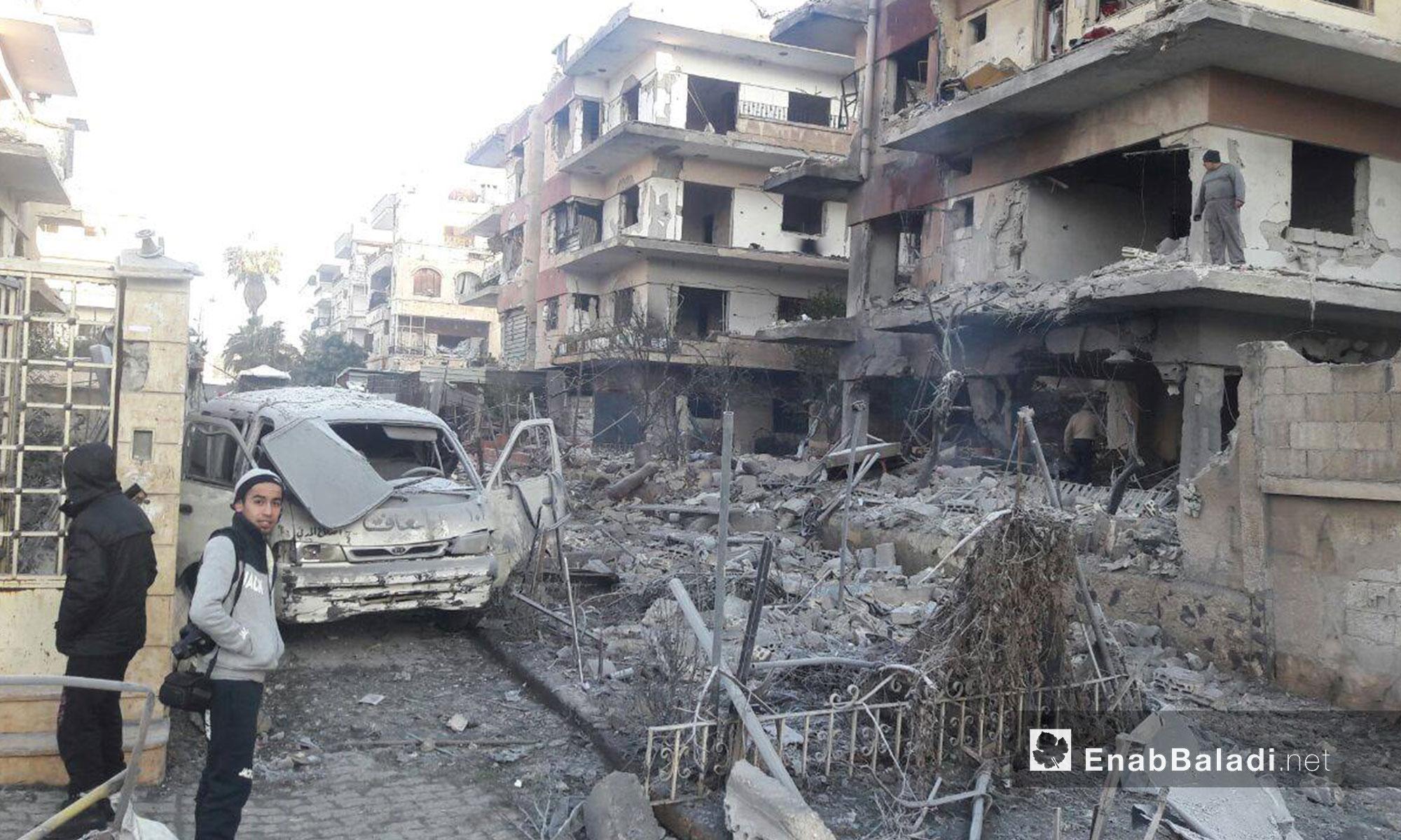 الدمار الذي خلفه القصف على حي الوعر في مدينة حمص - 19 كانون الأول 2016 (عنب بلدي)