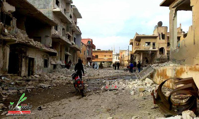 الدمار الذي خلفه قصف الطيران الحربي على مدينة بنش بريف إدلب_5 كانون الأول_(تنسيقية بنش)