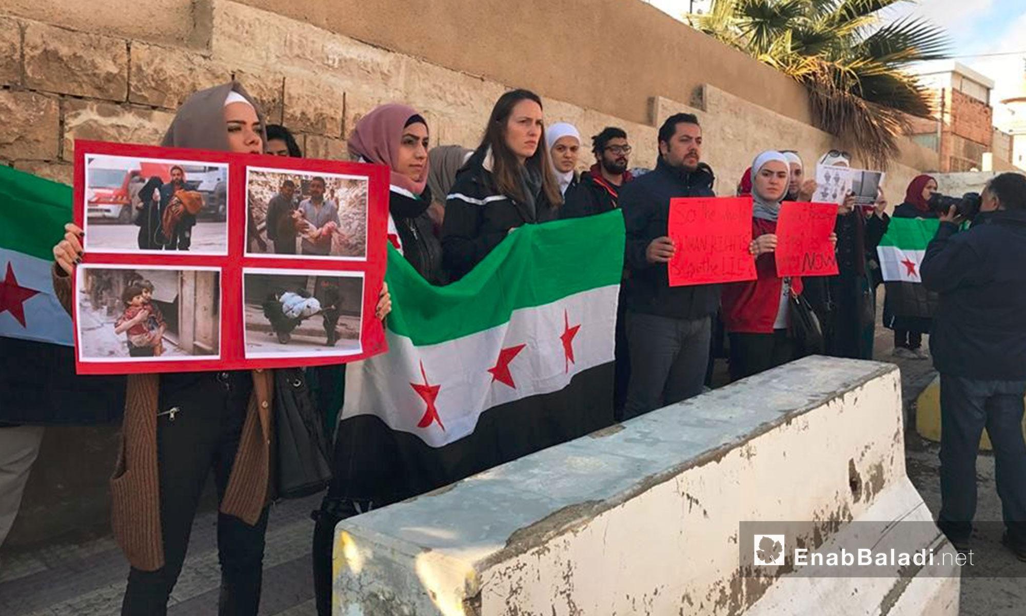 وقفة تضامنية مع مدينة حلب في العاصمة الأردنية عمان- السبت 17 كانون الأول (عنب بلدي)