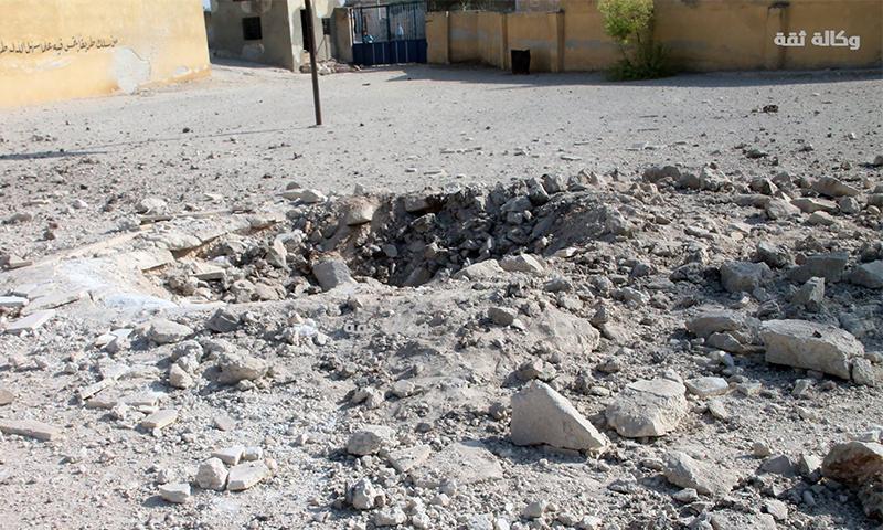 تعبيرية: آثار القصف على مدرسة في كفرداعل بريف حلب الغربي - 23 تشرين الأول (وكالة ثقة)