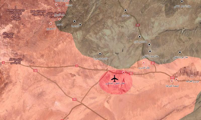 """خريطة تظهر موقع مطار """"T4"""" شرق حمص (عنب بلدي)"""