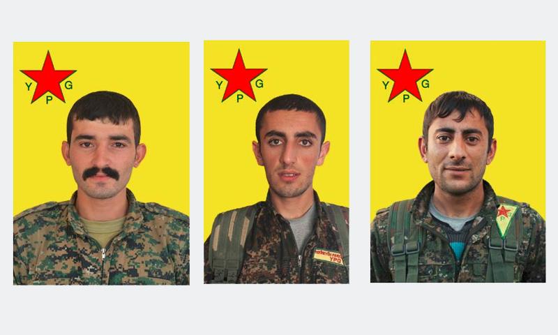 """الأتراك الثلاثة الذين قتلوا ضمن صفوف """"الوحدات الكردية"""" غرب الرقة - كانون الأول 2016 (فيس بوك)"""