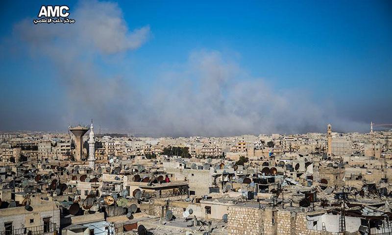 حي مساكن هنانو قبيل سيطرة قوات الأسد عليه- 22 تشرين الثاني الفائت (مركز حلب الإعلامي)