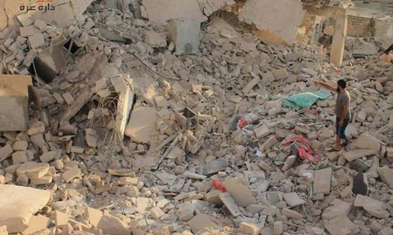 آثار القصف على دارة عزة_حزيران 2016_(انترنت)