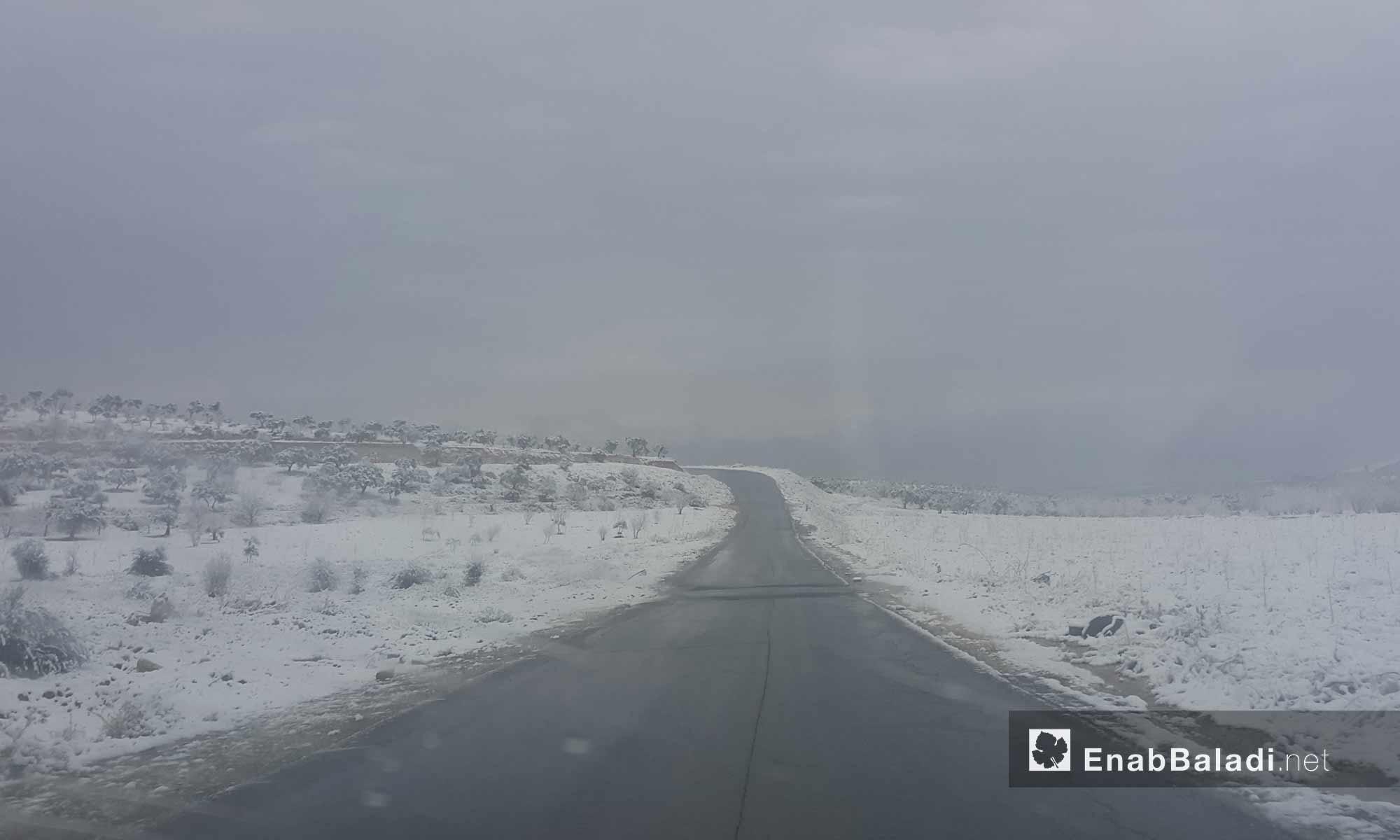 الثلوج في أريحا بريف إدلب_18 كانون الأول 2016_(عنب بلدي)