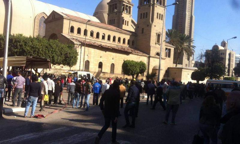 انفجار كاتدرائية الأقباط بالقاهرة (انترنت)
