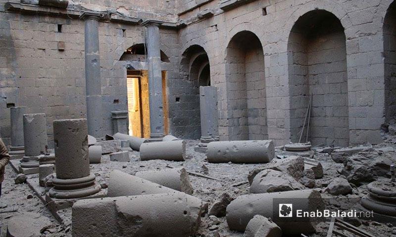 جانب من الدمار الذي لحق بآثار بصرى الشام في محافظة درعا- تشرين الأول 2016 (عنب بلدي)