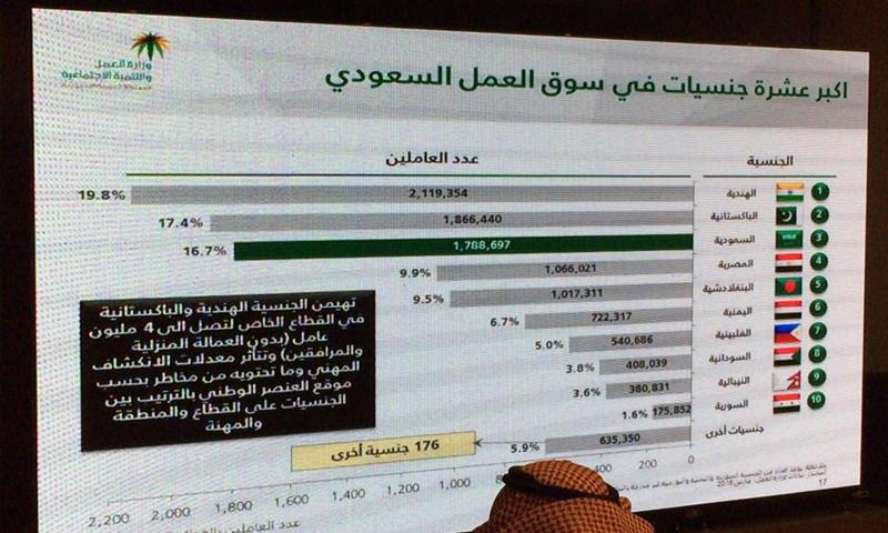 تعبيرية: إحصائيات وزارة العمل السعودية- حزيران 2016 (حساب مدير إدارة الإعلام الإلكتروني في جريدة الرياض، هاني الغفيلي في تويتر)