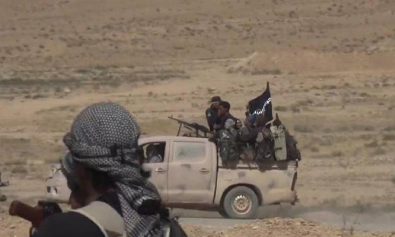 عناصر من تنظيم الدولة الإسلامية في ريف حمص الشرقي-(انترنت)
