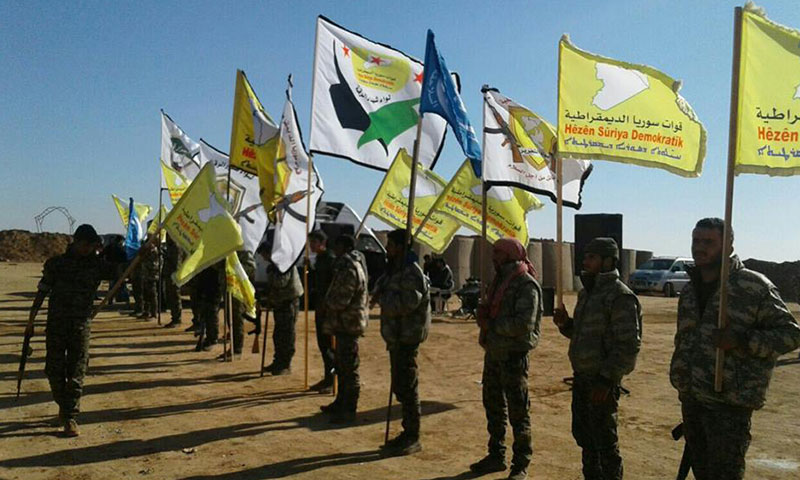 """جانب من مؤتمر صحفي عقته قوات """"سوريا الديمقراطية""""- السبت 10 كانون الأول (فيس بوك)"""