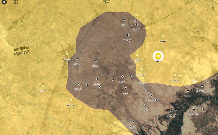 خريطة توضيحية لخط سير المعارك في ريف الرقة_(عنب بلدي)
