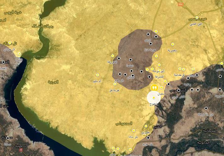 خريطة توضيحية تظهر تقدم قوات سوريا الديموقراطية بريف الرقة الغربي_(عنب بلدي)