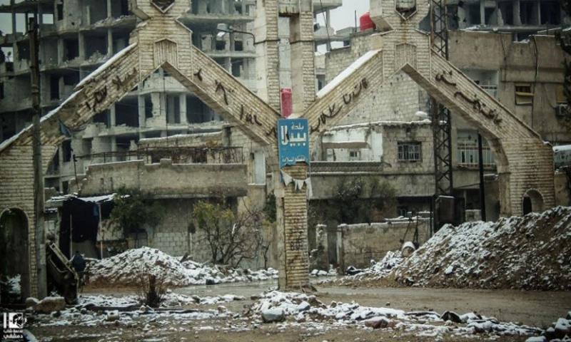 مدخل بلدة ببيلا جنوب دمشق - 2016 (عدسة شاب دمشقي في فيس بوك)