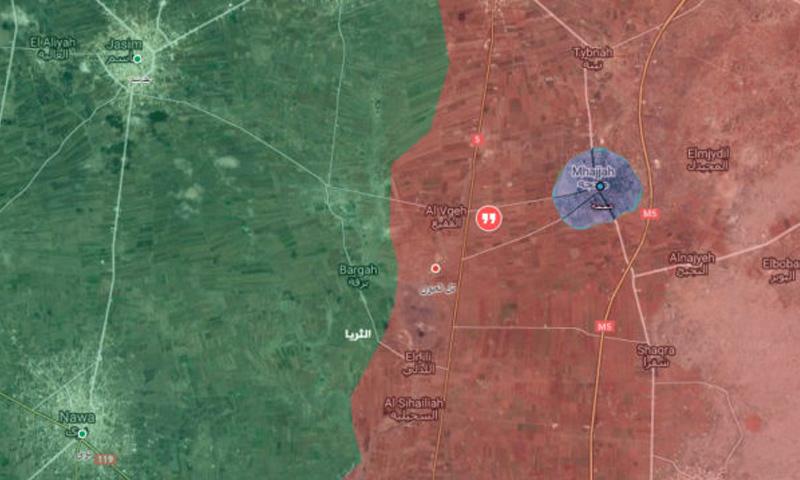 خريطة تظهر موقع بلدة محجة شمال درعا –24 كانون الثاني 2017 (عنب بلدي)