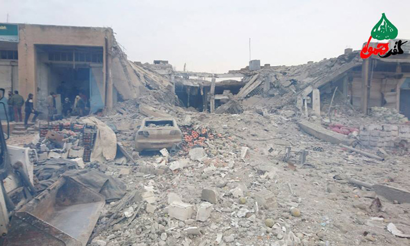 آثار القصف على معرتمصرين بريف إدلب الشمالي_14 كانون الثاني_(كفر يحمور)