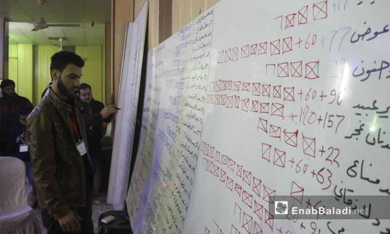 نتائج انتخابات المجلس المحلي الجديد في مدينة إدلب - 18 كانون الثاني 2017 (عنب بلدي)