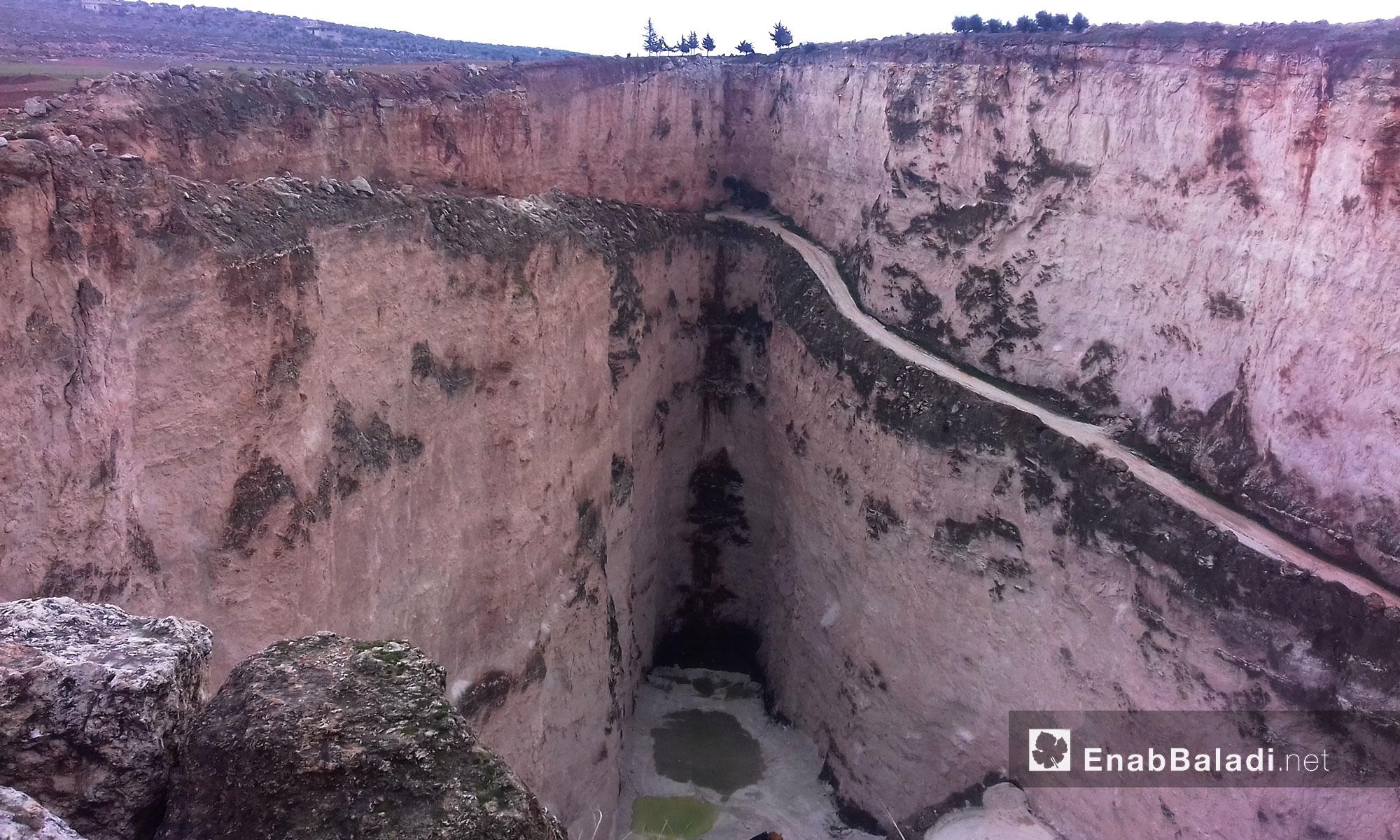 منطقة المقلع على طريق إدلب معرة مصرين - 8 كانون الثاني (عنب بلدي)