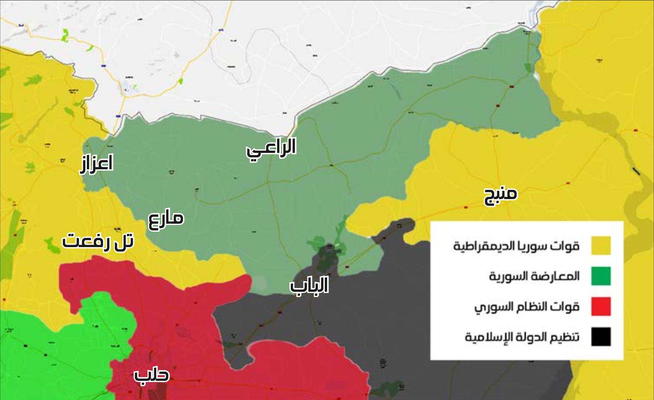 خريطة تظهر توزع السيطرة في ريف حلب الشمالي والشرقي - 21 كانون الثاني 2017 (عنب بلدي)